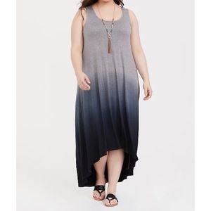 🆕 Grey Dip Dye Jersey Hi Lo Maxi Dress 2X 18 20